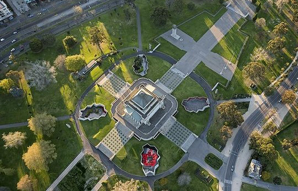 Shrine of Remembrance from above. Image by John Gollings.