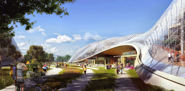 The proposed design for Google's new Headquarters in California, by Heatherwick Studio and BIG.