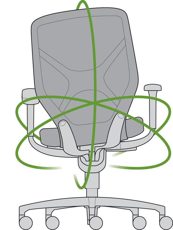 The IN chair swivel motion design.