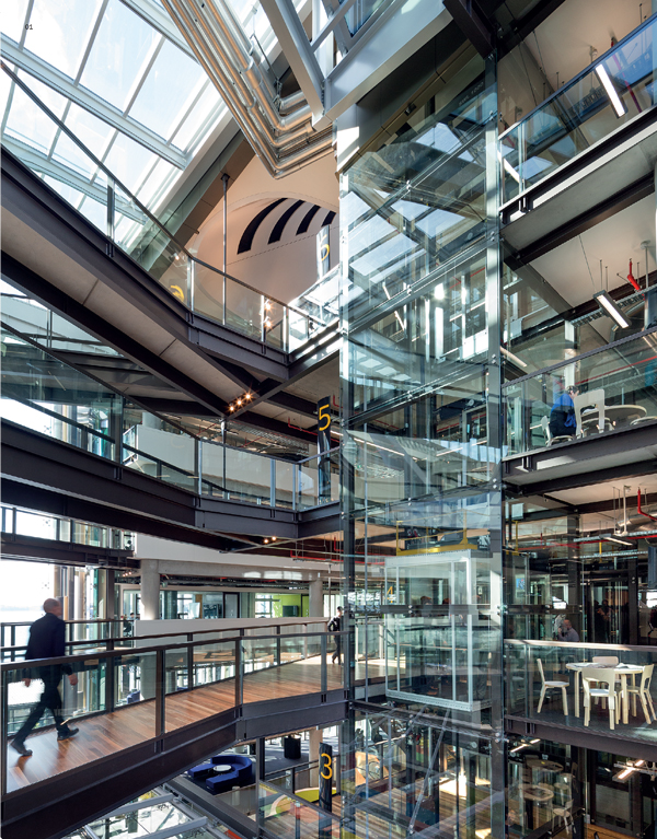 Movement through the building is up through a spectacular atrium, along a series of stairs and bridges