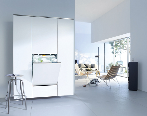 Miele's integrated dishwasher with Knock2Open technology has no handles and opens automatically simply by knocking on the door twice.