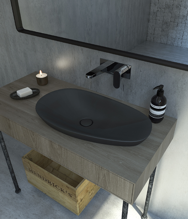 The Contura range from Caroma features a basin in black matt finish.