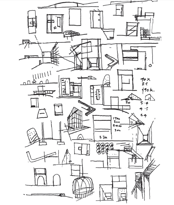 A page from Sean Godsell's RMIT Design Hub sketchbook.