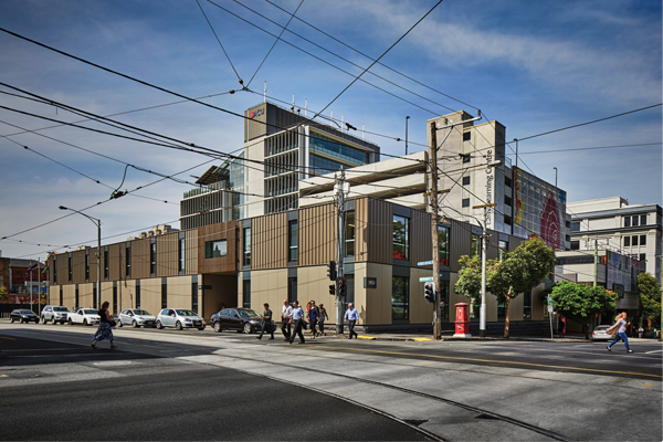 Australian Catholic University (ACU) acoustically designed modules on a prominent corner in Fitzroy, Melbourne designed by Modscape