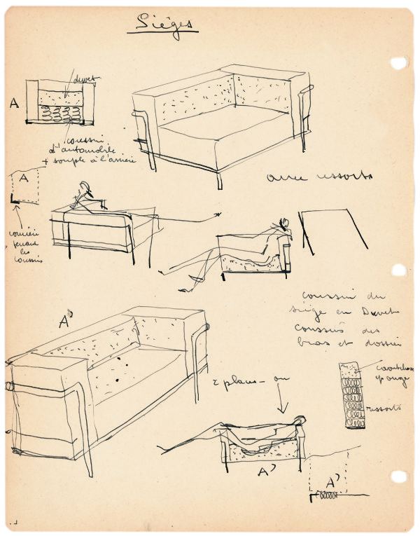 10_Research sketches by Charlotte Perriand of the Fauteuil Grand Confort_1928∏Archives Charlotte Perriand_ADAGP2014