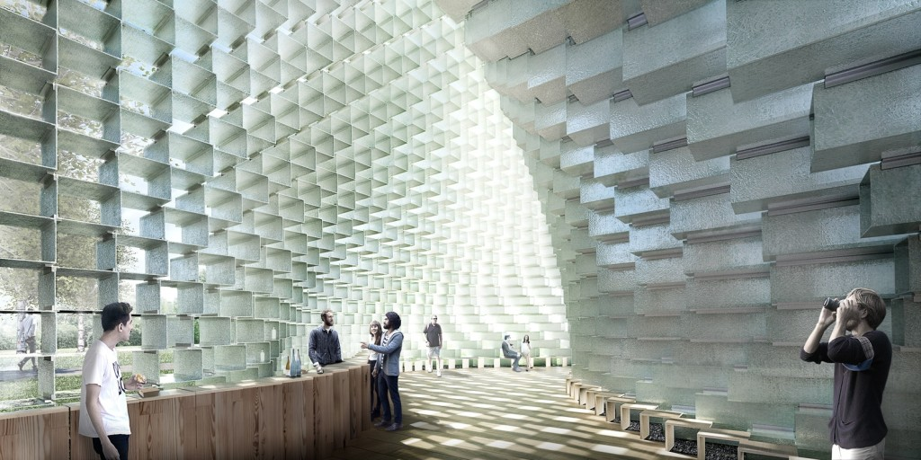 Inside the Serpentine Pavilion, image courtesy Archdaily/Bjarke Ingels Group