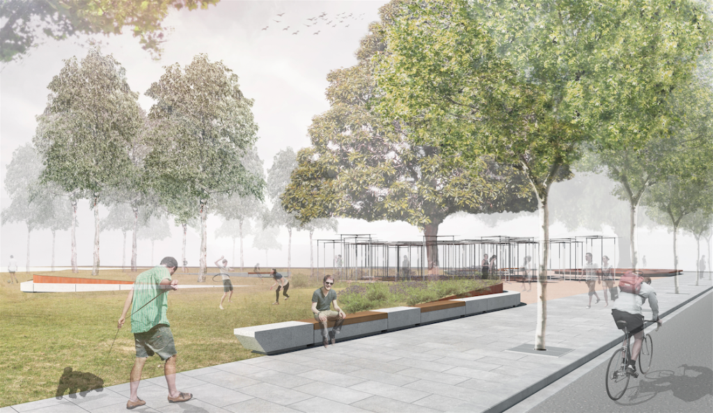 Artist's impression of the MPavilion at its new home, render courtesy of MPavilion.