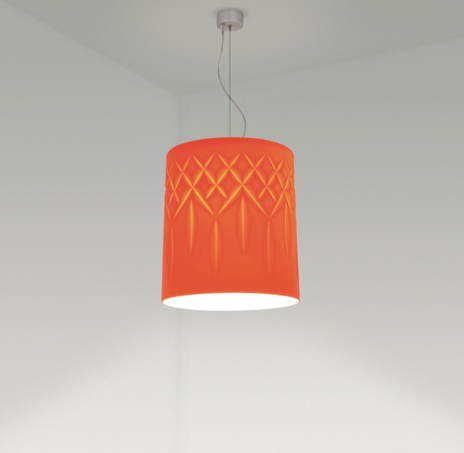 Crystal pendant in mandarin from the Glass collection for ISM Objects
