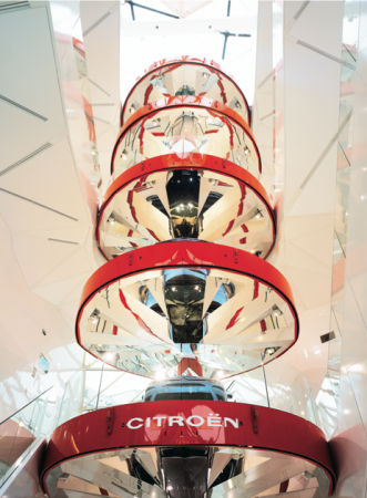 Display for cars at the Citroen showroom, Paris, photo by Phillipe Ruault.