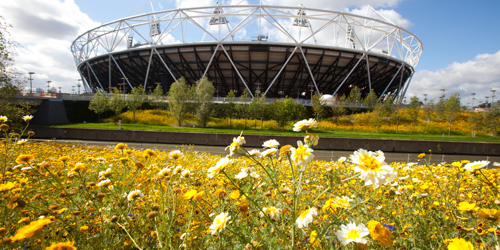 The parklands area in the south of the Olympic Park looking towards the Olympic Stadium. Photo by Anthony Charlton, courtesy Hargreaves Associates.