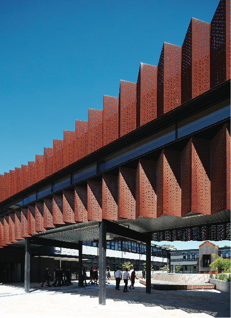 Flyover Gallery spans over public spaces at Caroline Chisolm College in Braybroo, photo by Peter Clarke.