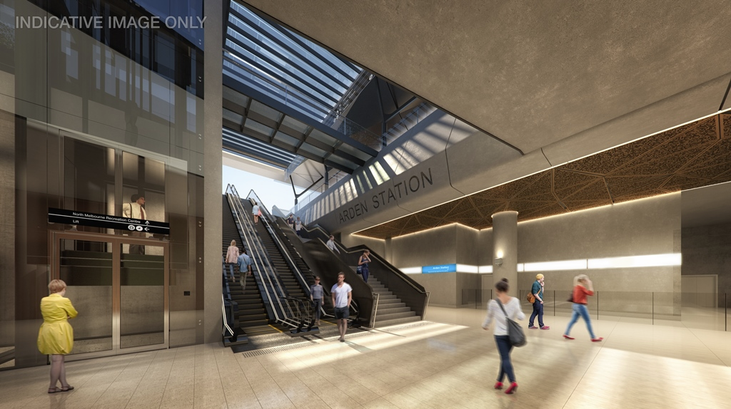 Arden station render, courtesy Grimshaw Architects/Melbourne Metro Rail.