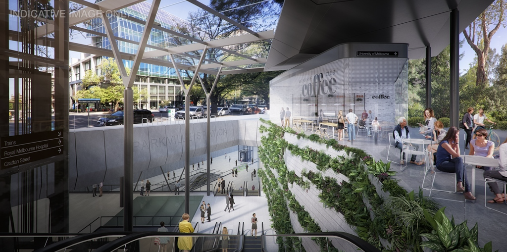Parkville station render, courtesy Grimshaw Architects/Melbourne Metro Rail.