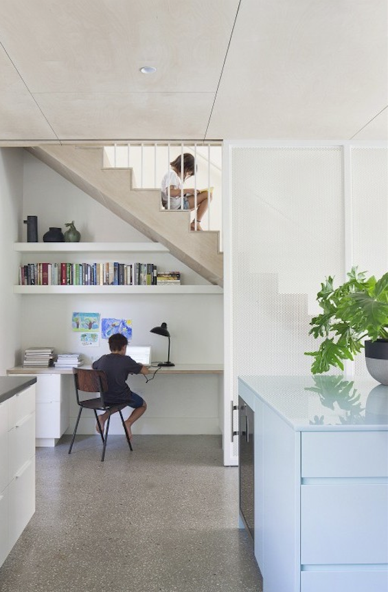 The communal kitchen study of Claire Cousins Architect's Hertford Street House, photo by Shannon McGrath.