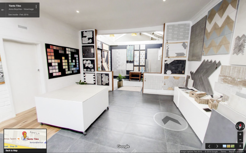 Virtual Tour of Tiento Tiles showroom, image courtesy Viewmage/Google.