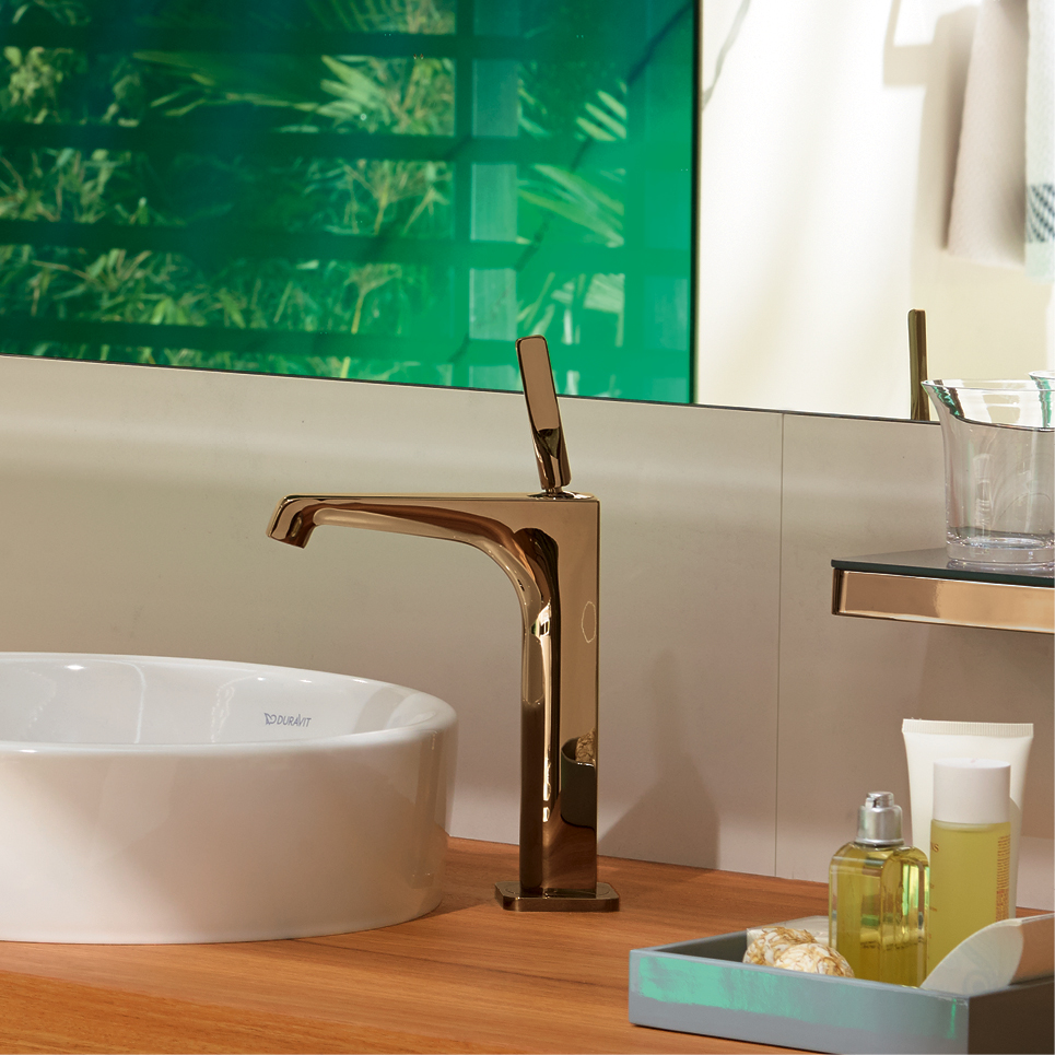 Axor basin deisgned by Antonio Citterio with red/gold mixer available from Bathe
