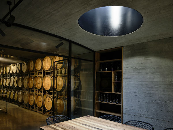 The barrels from the estate form part of the decor.