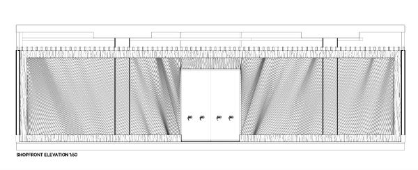 Shopfront elevation. The designers enlisted the help of yacht riggers to resolve the rope design.